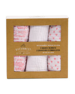 Hello world baby swaddle blanket 3 gift box cotton muslin coral image is loading hello world baby swaddle blanket 3 gift box gumiabroncs Images