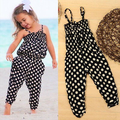 Toddler Kids Baby Girls Summer Strap Romper Jumpsuit Harem Pants Clothes Outfit