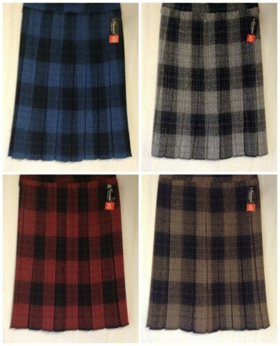 NEW LADIES SIZES 10-18 WARM CHECK PATTERN BOX PLEATED  ELASTICATED PULL ON SKIRT