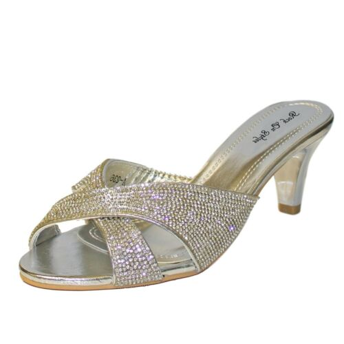 Womens Ladies Diamante Low Kitten Heel Party Slip On Shoes Sandals Size A-236