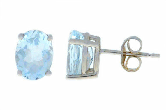 3 Carat Natural Aquamarine 8x6mm Oval Stud Earrings 14Kt White gold