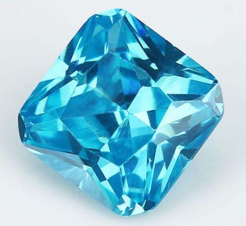 5A 10x10mm Unheated 7.05ct Sea Blue Sapphire Diamond Cut Square VVS Loose Gems