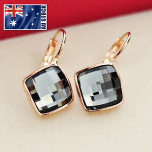 New-18K-Rose-Gold-GF-Fashion-Square-Hoop-Huggie-Earrings-With-SWAROVSKI-CRYSTAL