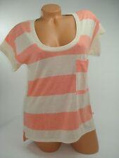 Victoria Secret T-Shirt Supermodel Essentials Short Sleeve Orange Striped Small