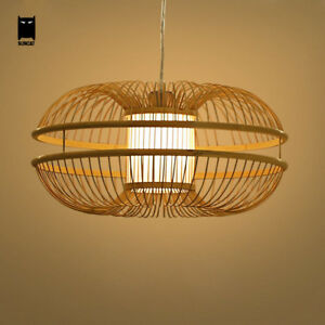 Image Is Loading Bamboo Wicker Rattan Pendant Light Fixture Rustic Anese