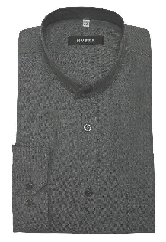 HUBER Stehkragen Hemd grey softig leichter Flanell HU-90402 Regular