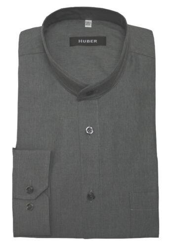 HUBER Stehkragen Langarm Herren Hemd grau softig weicher Stoff HU-90402 Regular