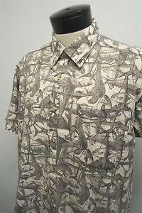 Columbia-beige-gray-mahi-mahi-fishing-cotton-Hawaiian-camp-shirt-L-mens-S-S-531