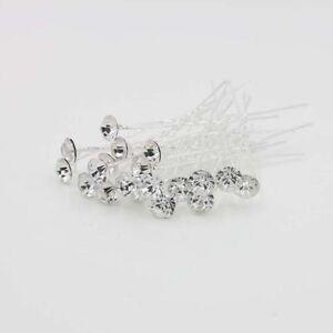 Weiß 40 Stück Blumen Kristall Strass Haarnadeln mit einem Wei