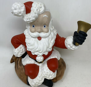"Vintage Atlantic Mold Ceramic Santa Claus Ringing Bell 10.50"" Tall"