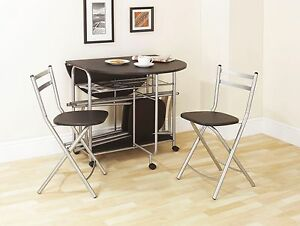 Folding Dining Set Black Dining Table and Four Chairs ...