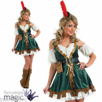 LADIES WOMENS SEXY ROBIN HOOD MAID MARION MEDIEVAL FANCY DRESS COSTUME OUTFIT BN
