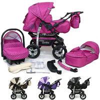 Baby Pram Stroller Pushchair + Car Seat Carrycot Buggy Travel System Barnvagn