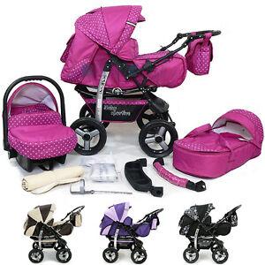 Baby-Pram-Stroller-Pushchair-Car-seat-Carrycot-Buggy-Travel-system-barnvagn