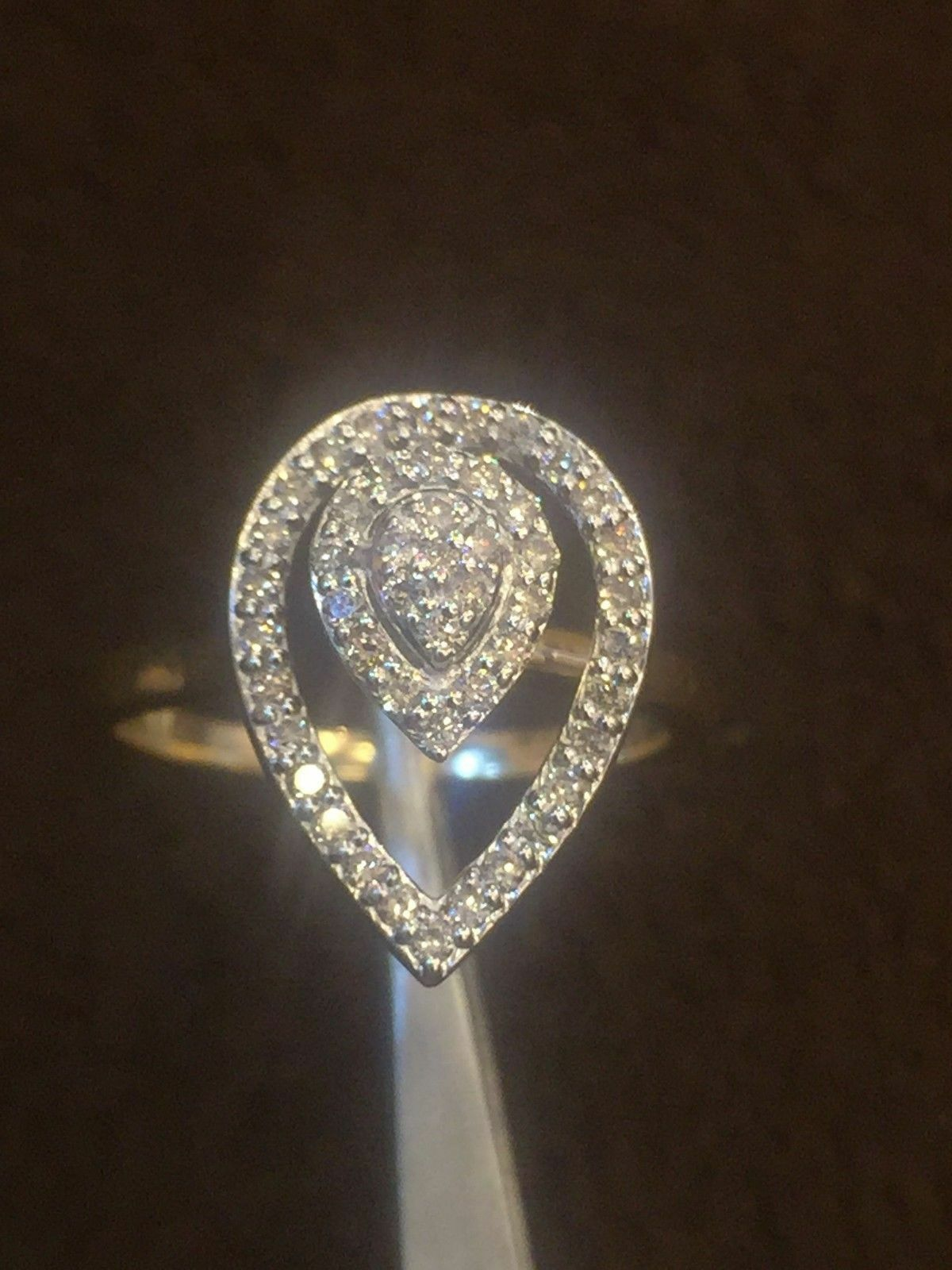 Pave 0.36 Cts Natural Diamonds Tear Drop Ring In Solid Certified 14K Yellow gold