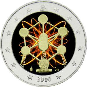 2-Euro-Gedenkmuenze-Belgien-2006-coloriert-mit-Farbe-Farbmuenze-Atomium
