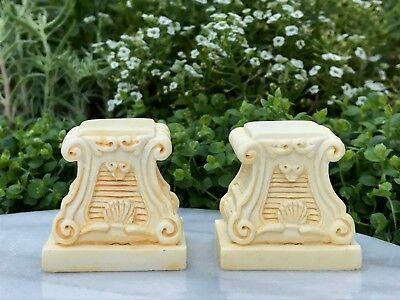 Miniature Dollhouse FAIRY GARDEN Accessories ~ 2 White Ancient Urns w// Pedestals