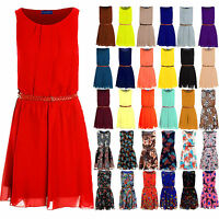 Ladies Sleeveless Chiffon Pleated Belted Sexy Skater Party Women's Short Dress