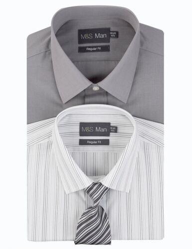 EX M&S MARKS AND SPENCER Pack 2 Entretien facile à rayures T-shirt avec cravate