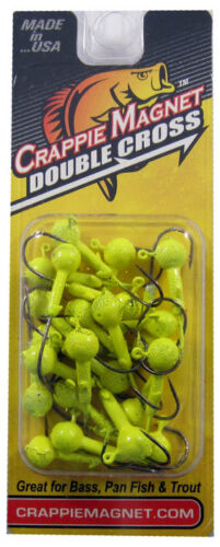 HEADS 25 pc PK   CHARTREUSE 1//8oz NEW    CRAPPIE MAGNET