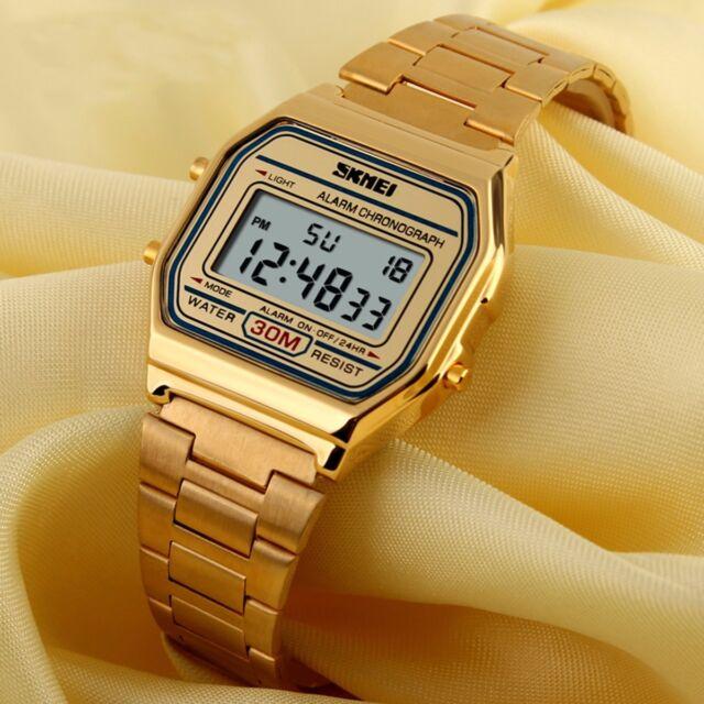 b41676d5cfe SKMEI Men s Sport Gold Stainless Steel Square LED Digital Wrist Watch  Waterproof