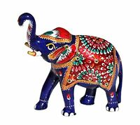 Souvnear 5.1 Trunk-up Good Luck Elephant Sculpture - Metal Figurine With Meenak on sale