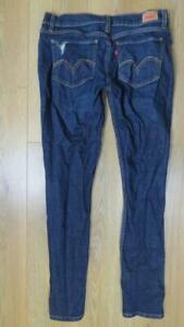 Levi's 524 too superlow dark blue distressed skinny jeans women's size M 32L