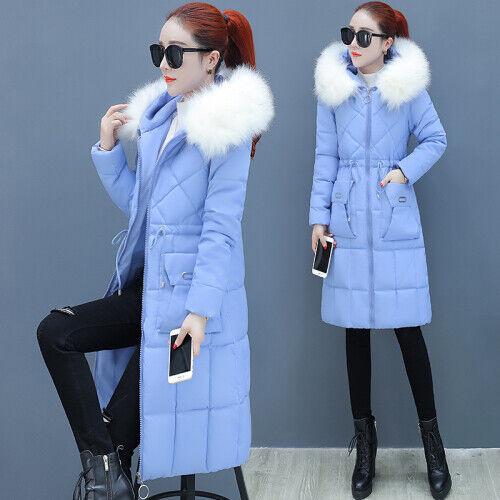 Women/'s Winter Parka Coat Long Down Cotton Warm Fur Collar Hooded Jacket Outwear