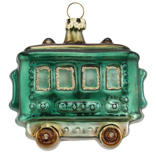 Eisenbahnwagen Anhänger Weihnachtsexpress 7cm grün Thüringer Glas Weihnachtsschm