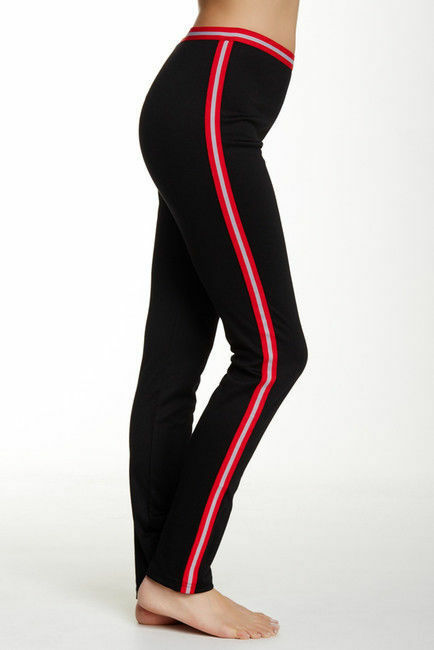 Hue Women S Ponte Leggings Sporty Stripe Black Red Stretch Size L Nwt U16102 For Sale Online