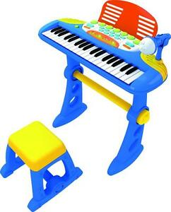 NEW-KIDS-KEYBOARD-AND-STAND-BLUE-MUSICAL-PIANO-37-KEYS-STOOL-MICROPHONE-PACKAGE