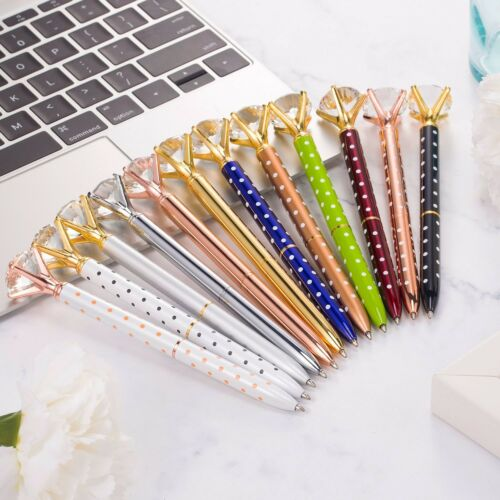 12 Pieces Big Diamond Pen Rhinestones Crystal Metal Ballpoint Pens-USA stocks