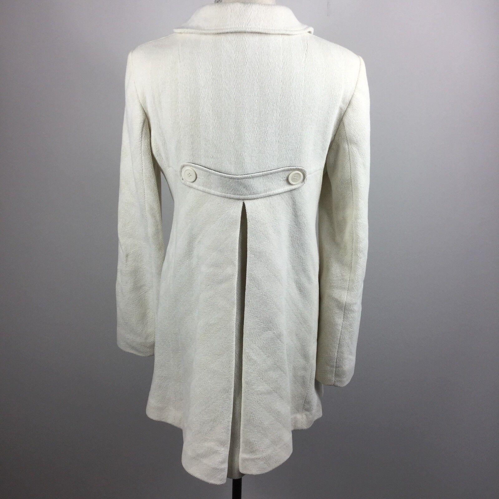 Sasch Firenze Italia Womans White Button Down Pea Coat Coat Coat Size Large 448cdb