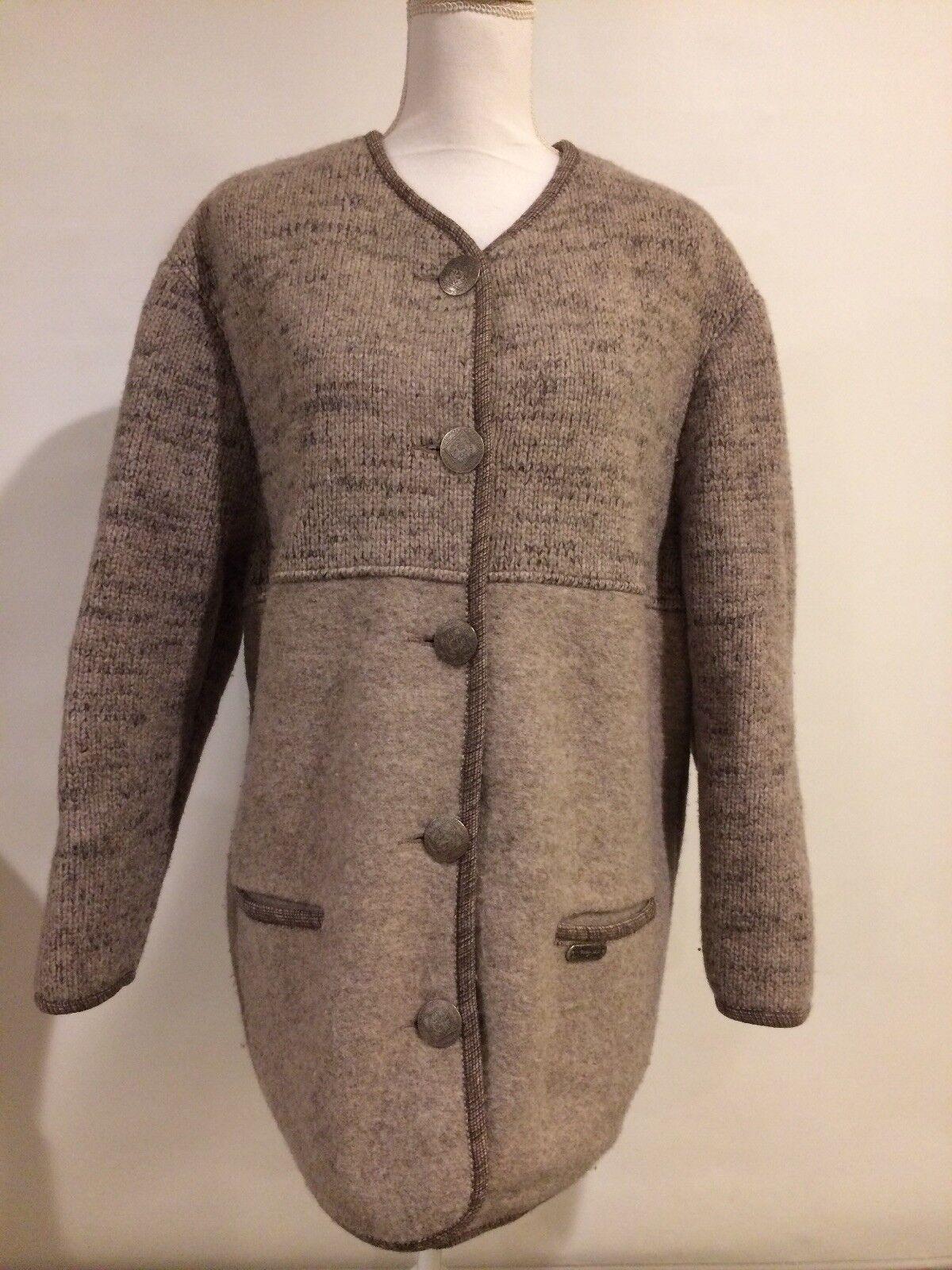 Wesenjak Tirol Beige Pure Wool Button Front Austrian Cardigan Sweater Sz US 12