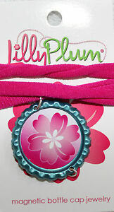 New-Lilly-Plum-12-Choker-Pink-Necklace-withTeal-Blue-pendant