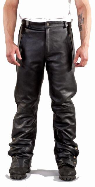 Premium Naked Leather Zip Pocket Chaps w/Stitching #
