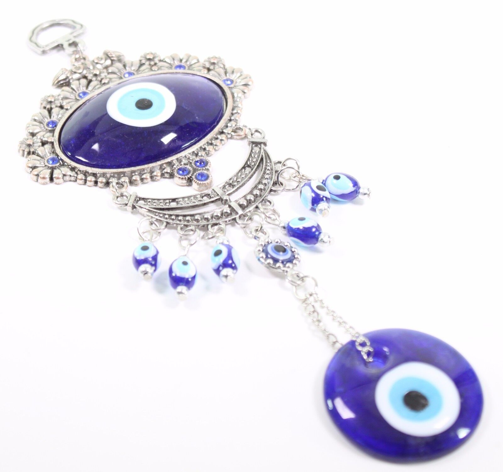 Turkish Oval Blue Evil Eye Amulet Wall Hanging Decor