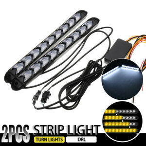 2x-25CM-2835-Car-LED-Strip-Light-White-amp-Amber-DRL-Turn-Signal-Light-12V-IP67-2
