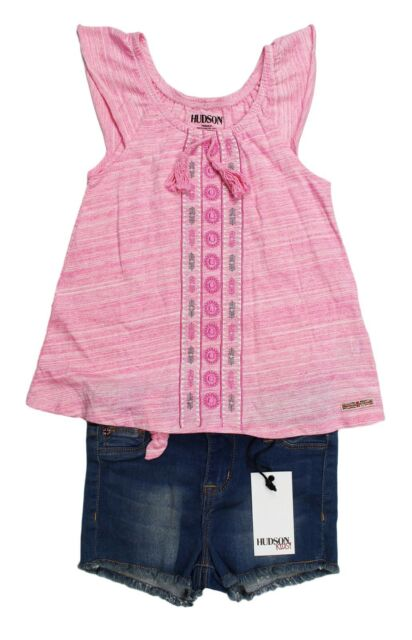NEW Girls 2pc Outfit Size 2T Blue Floral Smocked Sleeveless Top Denim Shorts Set