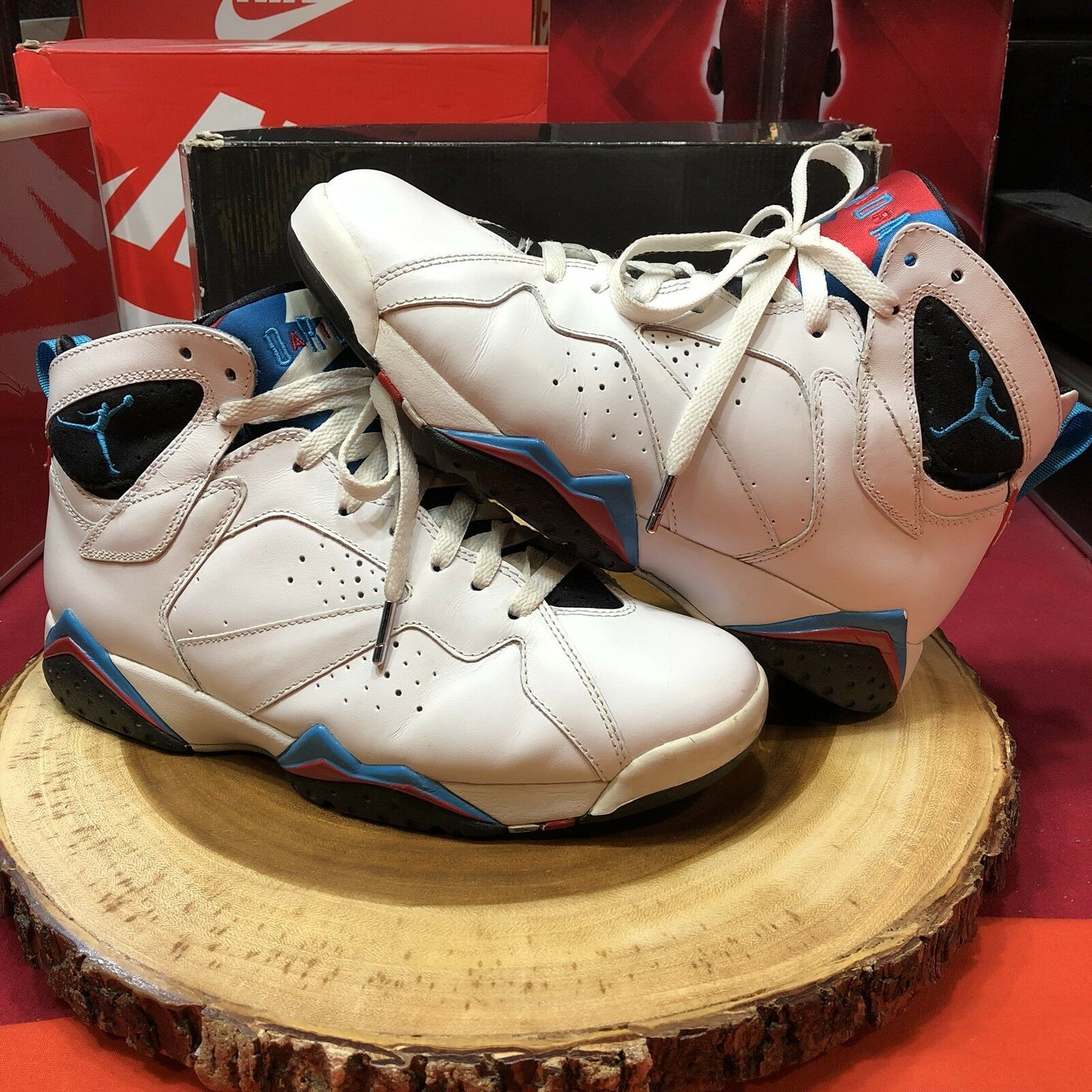 Nike air jordan / vii 7 retro bianco / jordan blu e nero infrarossi 304775-105 taglia 9 orion d66698