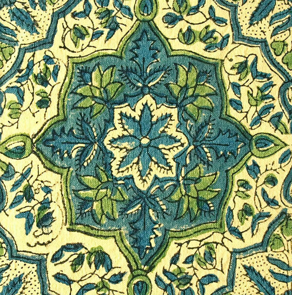 """French Reproduction Fabric. 2½ Yards, Hand Block Print Cotton. 44"""" Wide. Artisan"""