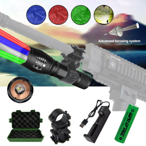 A100 Tactical Flashlight Red Green Blue White LED Hunting Torch Barrel Mount Kit