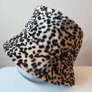 c62cb95503251 Bucket Hat in Faux Fur Leopard Print Handmade Great for Festival