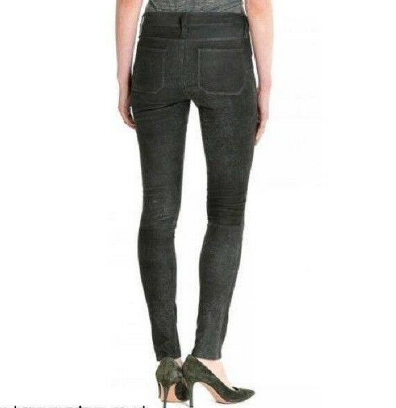 Women's M .i. H Jeans real leather trousers graphite  color size 26 BNWT