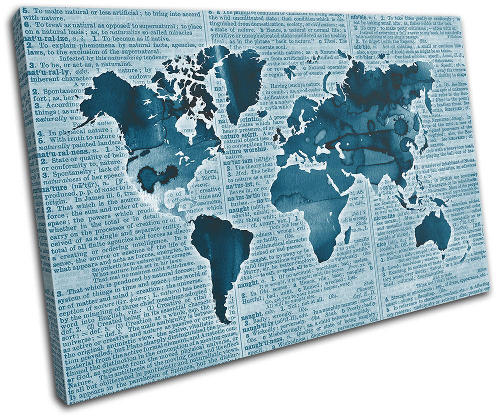 World World World Atlas Antique Book Azul Maps Flags SINGLE LONA pared arte Foto impresion 162644