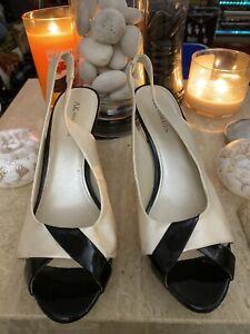 ANNE-KLEIN-Akulema-Peep-Toe-Slingback-3-034-Pump-11-1-2-Black-Ivory-Patent-Leather