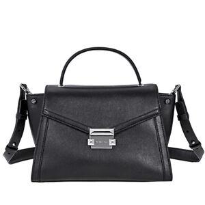 Michael Kors Whitney Medium Leather Satchel- Black 30T8SXIS2L-001