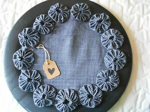 Primitive Country Handmade Candle Mat Multi Color  Yo Yo Made in USA