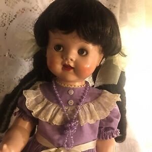 Ideal-Vintage-22-Saucy-Walker-Doll-With-Bent-Knees-Crier-and-Replaced-Wig