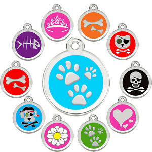 Stainless-Steel-with-Enamel-Round-Pet-ID-Tags-Various-Designs-and-Colors